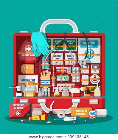 First aid kit with medical equipment and medications. Bag for medicine. Healthcare, hospital and medical diagnostics. Urgency and emergency services. Vector illustration in flat style