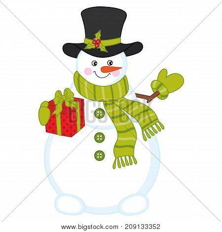 Vector cute snowman with gift box. Vector Christmas and New Year. Snowman vector illustration