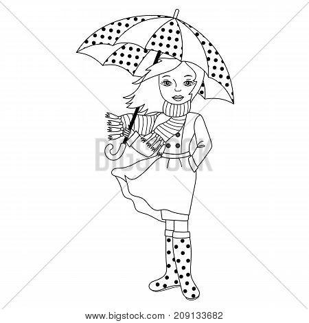 Vector black and white girl holding umbrella. Vector autumn girl. Autumn girl vector illustration