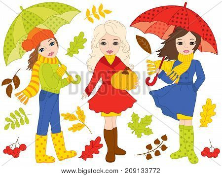 Vector autumn set with beautiful young girls, umbrellas, pumpkin and colorful leaves. Vector girls. Autumn girls vector illustration