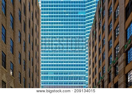 New-York Manhattan Old and New buildings blue brown