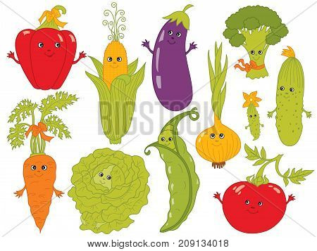 Vector cartoon vegetables with smiley faces. Set includes carrot, cabbage, tomato, onion, cucumber, carrot, pea, broccoli, pepper, eggplant and cabbage. Funny vegetables vector illustration