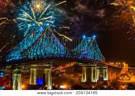 Montreal 375th celebration Jacques-Cartier bridge with fireworks