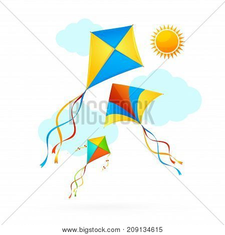 Flying Kite Toy and Blue Clouds on a Sky Summer Concept Background Holiday or Vacation Time. Vector illustration of Kites