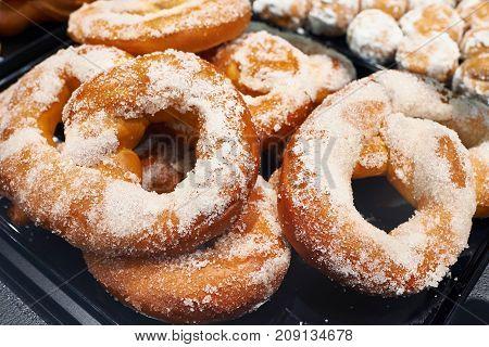The sugar pretzels in bakery store closeup