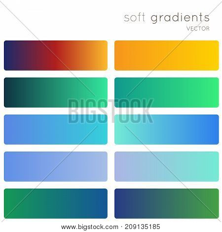 Soft color gradients. Creative vector gradient backgrounds set for mobile app, screen, banner, page, site, greeting card, flyer, invitation, poster, brochure, calendar and other modern design.