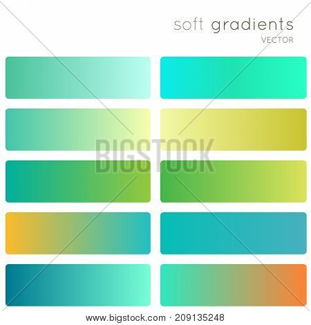 Green soft color gradients. Creative vector gradient backgrounds set for mobile app, screen, banner, page, site, greeting card, flyer, invitation, poster, brochure, calendar and other modern design.
