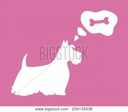 Silhouette of dog with bubble on the pink background. Vector illustration.