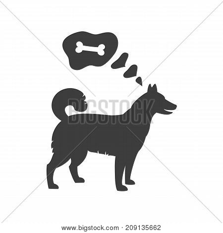 Silhouette of dog with bubble on the white background. Vector illustration.