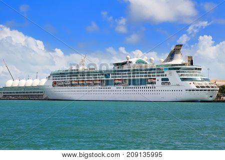MIAMI, USA - APRIL 12, 2017: Royal Caribbean cruise ship Grandeur of the Seas to port of Miami
