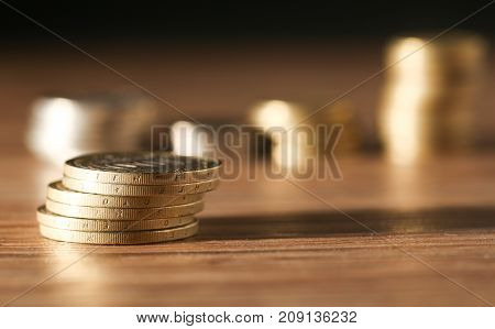 A coin. close-up . Photos in the studio