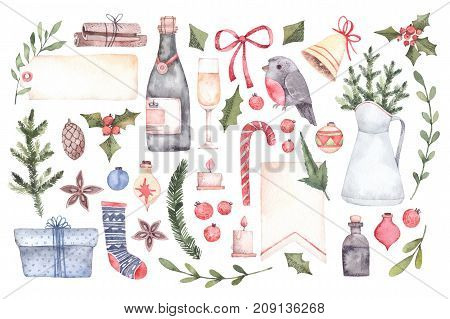 Watercolor Illustration. Decorative Christmas Elements With Floral Elements, Christmas Decorations,
