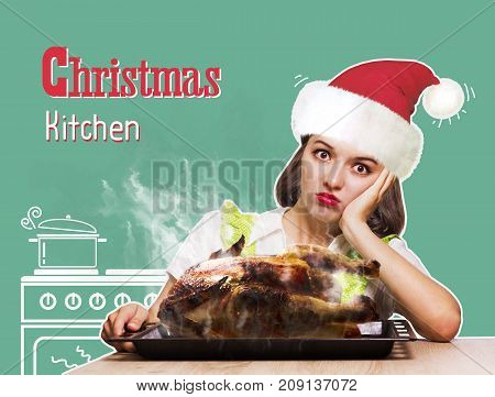 Christmas Kitchen.woman Overlooked Roast Chicken In The Oven