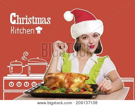 Woman With Red Santa Hat Cooking Roast Christmas Chicken .kitchen Background