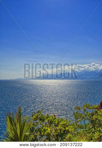 Panoramic view on Antalya mountains and Mediterranean Sea. Antalya Turkey.