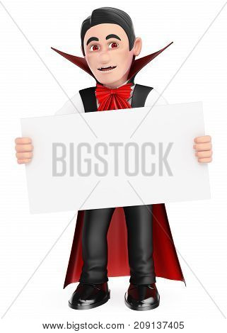 3d halloween people illustration. Funny monster. Vampire with a blank poster. Halloween. Isolated white background.