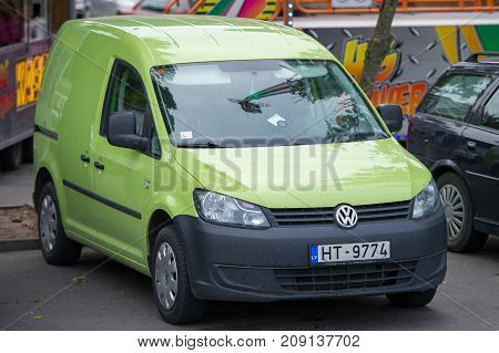 LITHUANIA, KLAIPEDA - AUG 12, 2017: Volkswagen CADDY car. The Volkswagen Caddy is a light commercial vehicle produced by the Volkswagen Group since 1980.