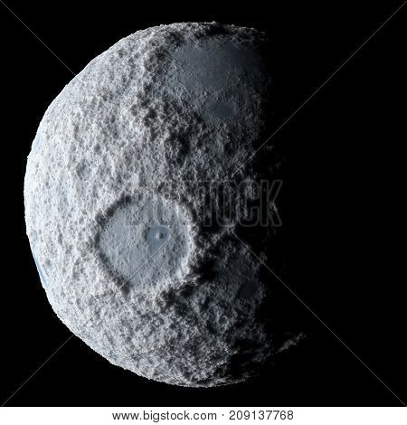Icy asteroid isolated 3d rendering black background