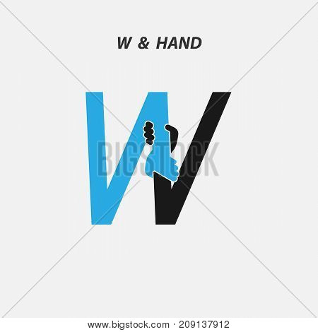 W - Letter abstract icon & hands logo design vector template.Italic style.Business offer, Partnership, Hope, Help, Support or Teamwork sign.Corporate business & education logotype symbol.Vector illustration