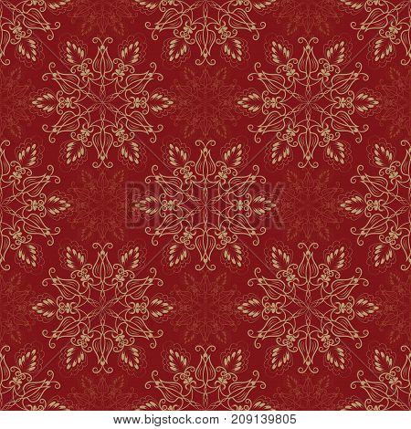 Seamless Floral Mandala Pattern over red color. Seamless pattern for your designs, invitation card, yoga, meditation, astrology, religion and other wrapped projects.