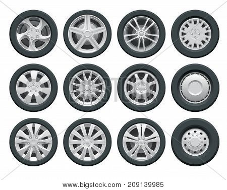Vector car wheels set for design Auto service shop. Rims flat collection on white background