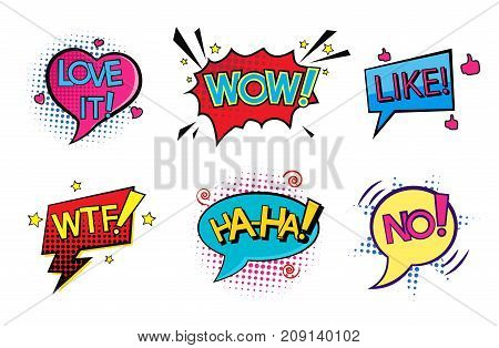 Comic pop art speech bubbles set with different emotions and text Wow, Love it, Like, WTF, Ha-ha, NO . Vector bright dynamic cartoon illustrations isolated on white background. Pop art halftone style.