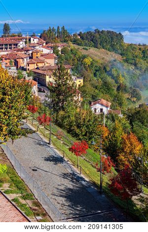 View from above on alley along colorful autumnal trees and hills as small village on background in Piedmont, Northern Italy (vertical composition).