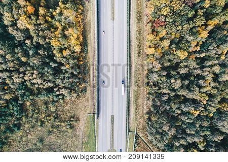 Aerial View Of Motorway At Autumn.