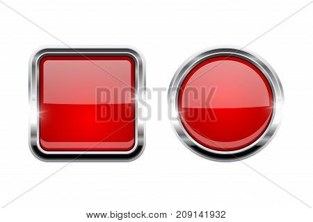 Red shiny buttons. Round and square glass web icons. Vector 3d illustration isolated on white background