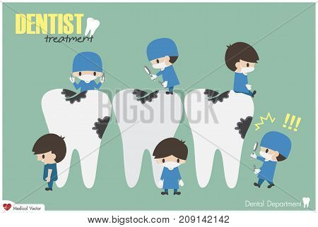 Dentists Check Up Your Teeth And Look For Dental Caries . Vector . Flat Design