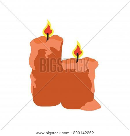 Isolated pair of candles with fire, Vector illustration