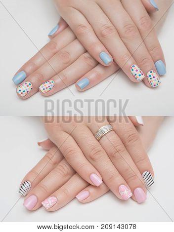 Very beautiful white metallic nails closeup gel, acrylic