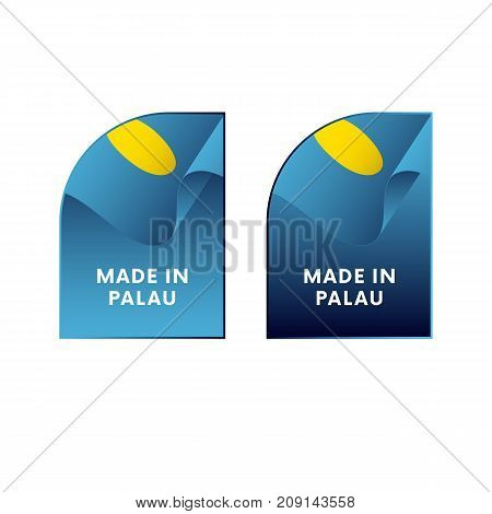 Stickers Made in Palau. Waving flag. Vector illustration.
