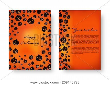 Cover of the catalog with soaring pumpkins for festive decoration for Halloween