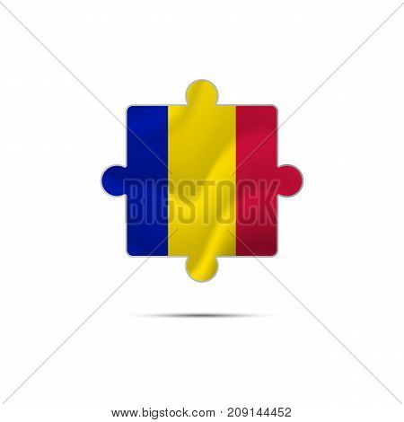 Isolated piece of puzzle with the Andorra flag. Vector illustration.