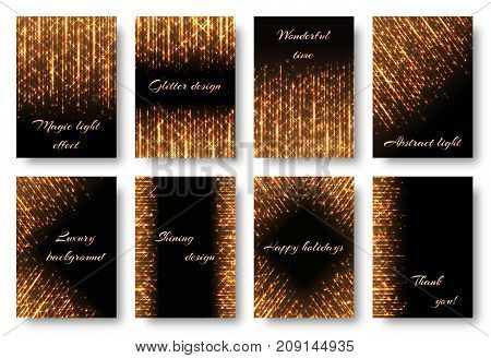 A set of bright cards with golden rays on a black backdrop. Brilliant light effect for festive decoration in vector format.