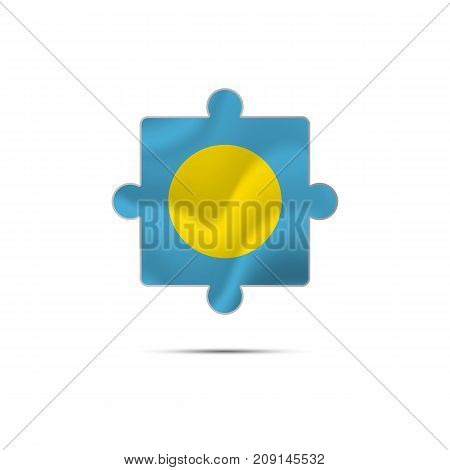 Isolated piece of puzzle with the Palau flag. Vector illustration.