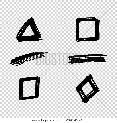 Set of Hand Painted Brush Strokes. Vector Grunge Brushes. Dirty Artistic Design Elements. Vector illustration.