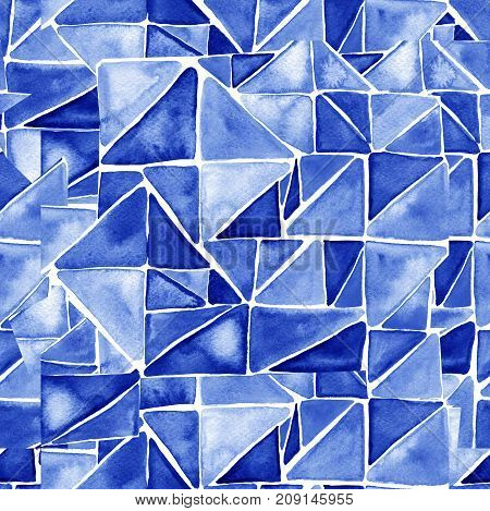 Seamless pattern with watercolor triangles. Hand painted wallpaper. Hand drawn brush painting. Seamless colorful artistic pattern. Ornament for wrapping paper. Blue sky ink illustration.