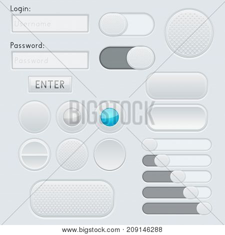 Gray and blue interface elements - entry fields, buttons, slider, toggle switch. Vector 3d illustration