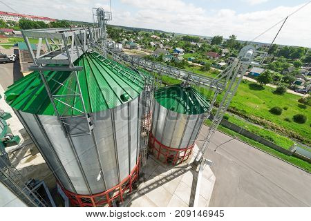 A modern granary, metal silos with a green roof. Sunny summer day.