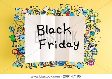 Black Friday text with colorful illustrations on a yellow background