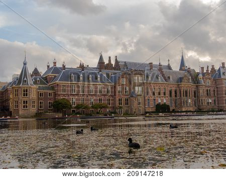 The Hague the Netherlands - 12 October 2017: the historic Binnenhof buildings in The Hague