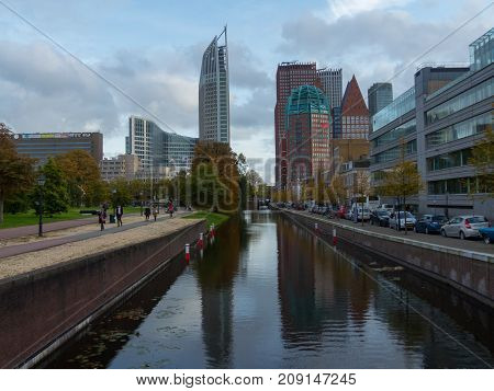 The Hague the Netherlands - 12 October 2017: the city of The Hague featuring old and new architecture buildings
