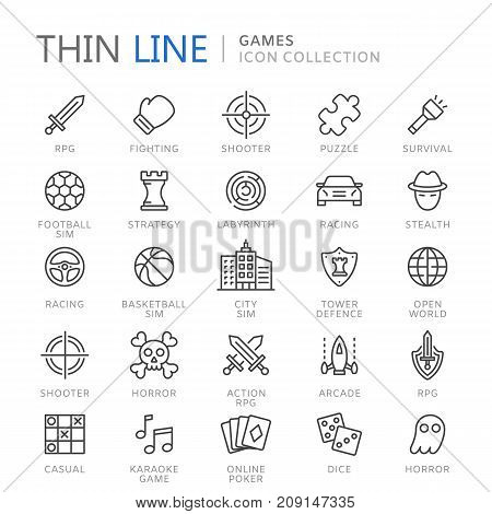 Video game genres thin ine icons. Vector eps10