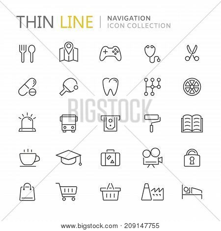 Collection of navigation thin line icons. Vector eps10