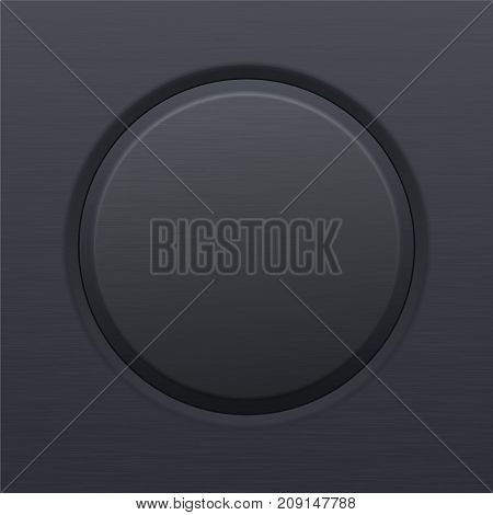 Round black button. Plastic matted icon. Vector 3d illustration