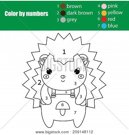 Children educational game. Coloring page with cute hedgehog. Color by numbers, printable activity, worksheet for toddlers and pre school age. Animals theme
