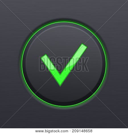 Submit button. Green check icon on black plastic background. Vector 3d illustration