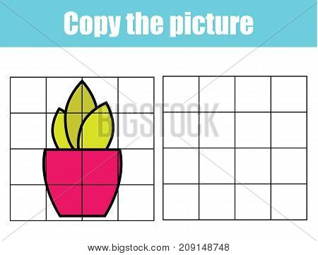 Grid copy picture activity. Educational children game. Printable Kids activity sheet with plant in pot.